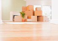 Boxes stacked on wooden floor of new house (thumbnail)