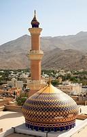 Oman, Al-Dakhiliyah, Nizwa, mosque, dome, minaret.