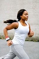 A jogging woman.