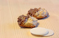 Chocolate glace coconut cookies with wafers