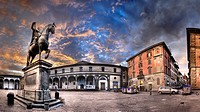 Statue of Grand Duke Ferdinand Florence Italy on horseback  On a public plaza  from 1608