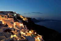 Europe, Greece, Thira, Cyclades, Santorini, Oia, View of village at morning