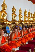 Buddhist monks Wat Pho Temple   Bangkok, Thailand, Southeast Asia, Asia.