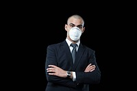 Businessman wearing a pollution mask