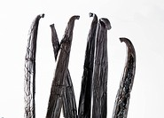 Several vanilla pods detail