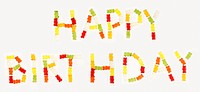 ´Happy Birthday´ written in Gummi bears