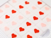 Sugar cubes with hearts