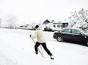 Sweden, man practicing cross_country skiing
