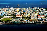 ndian Ocean, Maldives, Male ´city built and already cramped on an island.