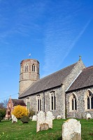 England, Norfolk, Thorpe Abbotts. All Saints church at Thorpe Abbotts near Diss. Architectural evidence suggests the church was in existence during Sa...