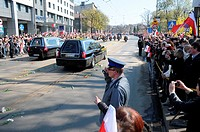18 04 2010  Cracow, Poland: hearses carrying coffins with bodies of president Lech Kaczynski and his wife Maria