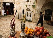 Juice vendors are easily found on the streets of the old city, Al Wad street, Muslim Quarter, Old City, Jerusalem, Israel.