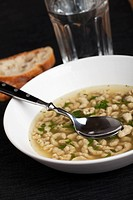 bavarian soup with a spoon