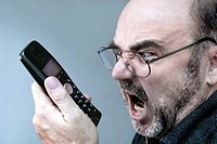 angry man with phone