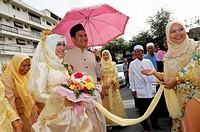 bride and groom, muslim wedding , bangkok, thailand