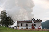 Fire in a farmer house in Legazpi, guipuzcoa, basque country