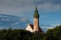 Monastery Andechs, baroque minster, onion dome, Upper Bavaria, Bavaria, Germany