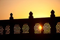 Carved balustrade, haveli, sunset, Phalodi, Rajasthan, India