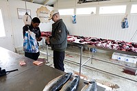 Seal meat being sold at the fish market  Qaqortoq Julianehåb, South Greenland