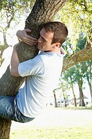 Man hugging a tree in a park