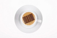 digital enhancement - clip image - barcode on cafe crema coffee foam - symbolism for globalisation or monitoring mania