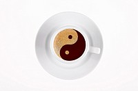 digital enhancement - clip image - yin yang symbol on cafe crema coffee foam - symbolism for relaxt bon vivant