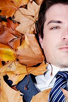 Portrait of a businessman lying on leaves