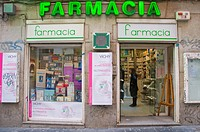 Pharmacy exterior Calle de Preciados street central Madrid Spain Europe