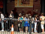 People queuing at Madame Tussauds Marylebone Road London England