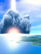 Extinction of the dinosaurs. Artwork of the explosion from asteroid impact that is thought to have caused the extinction of the dinosaurs around 65 mi...