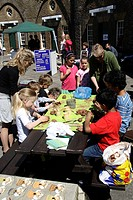 Children modelling with clay in the Redoubt Fortress during the Eastbourne Festival 2009