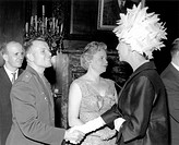 Yuri Gagarin 1934_1968, left, Soviet cosmonaut and first man in space, meeting the British actress Valerie Hobson 1917_1998. Gagarin made the first ma...