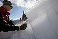 Backcountry skiers dig snow pit to check conditions.