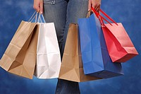 Lower body view of woman holding shopping bags