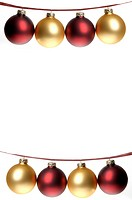 White background with two rows of strung red and gold Christmas ornaments dangling from plaid ribbon