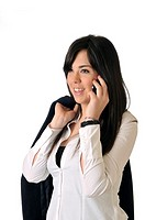 Young woman talking on the phone smiling