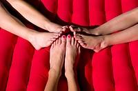 children feet on lilo wales