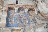 Fresco at Chapelle Saint_Michel featuring the Archangel Gabriel announcing her pregnancy to Mary and the upcoming visit from her cousin Elithabeth del...