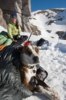 A woman melting snow next to her dog in a sleeping bag, San Juan National Forest, Colorado.