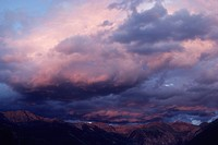 Clouds and sunset over Telluride, San Juan Mountains, Colorado.