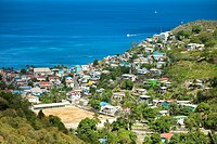 overhead view of castries, st lucia, and caribbean sea