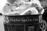 A full garbage Can in New York City