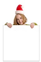 Teen girl with Christmas hat, holding blank sign  Add your own text