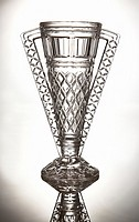 Studio shot of a crystal cut glass trophy