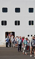 Tourists disembarking cruise ship in Las Palmas, Gran Canaria, Canary Islands, Spain