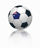 Australian flag on football, close up