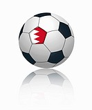 Bahraini flag on football, close up