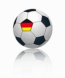 German flag on football, close up