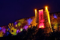 Light show, immense projections of images on the walls of the castle, Château de Caen Caen, Calvados, Normandy, France, December 2010  Lighting design...