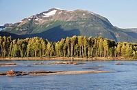 Canada, British Columbia, View of kitimat ranges at skeena river
